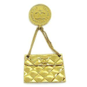 CHANEL CC Quilted Bag Motif Brooch Pin Gold Corsag